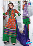 NS11160 FantaOrange and ForestGreen Cotton Straight Suit