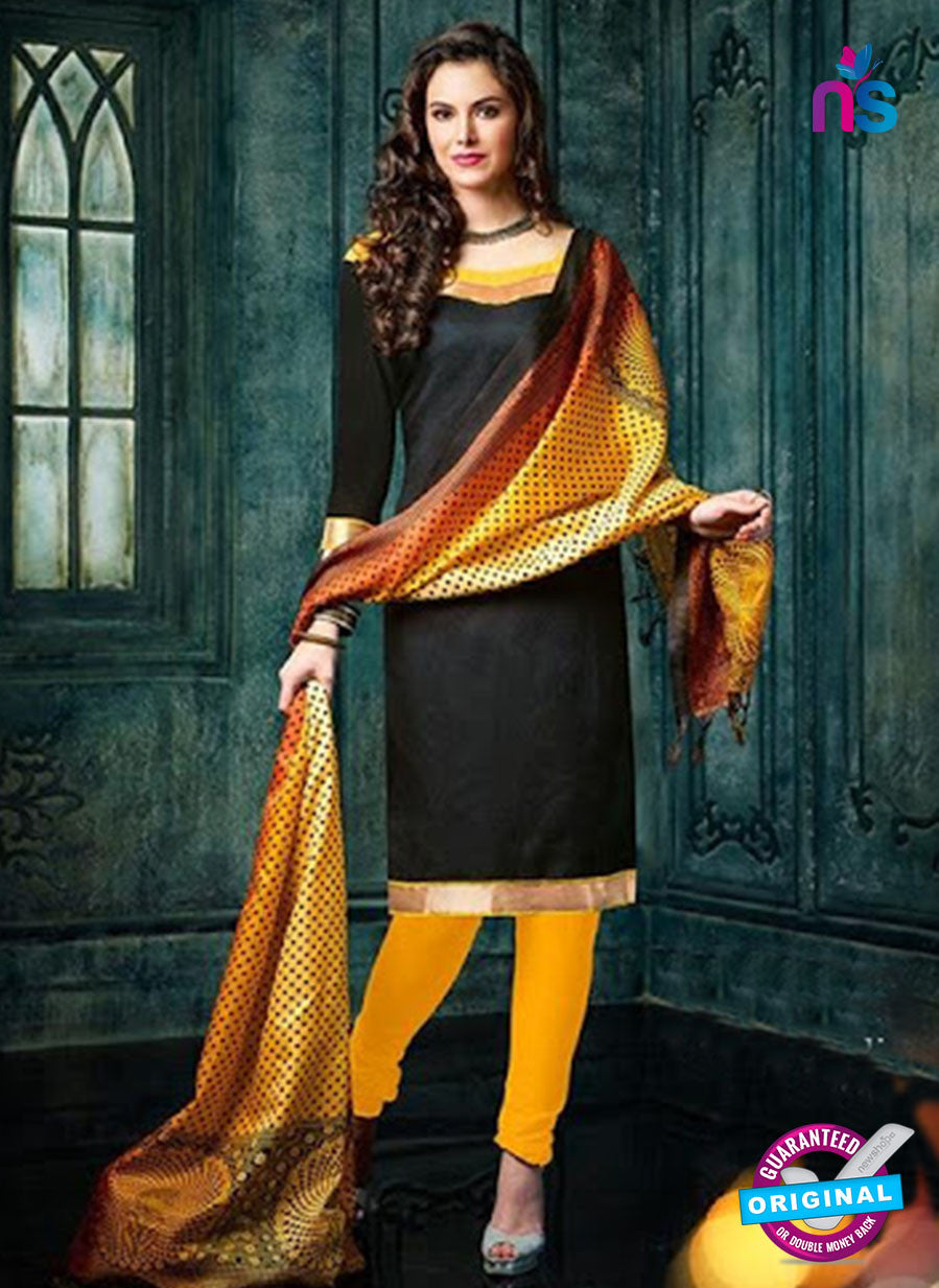 NS 12485 Black and Yellow Banarasi Jacquard Straight Suit
