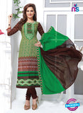 NS11161 Green and DarkBrown Cotton Straight Suit