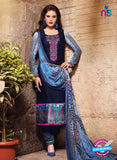 SC 13124 Blue and Multicolor Heavy Embroidered and Cotton Jacquard Pakistani Suit