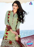 SC 12678 Green and Multicolor Embroidered Cambric and Net Party Wear Suit