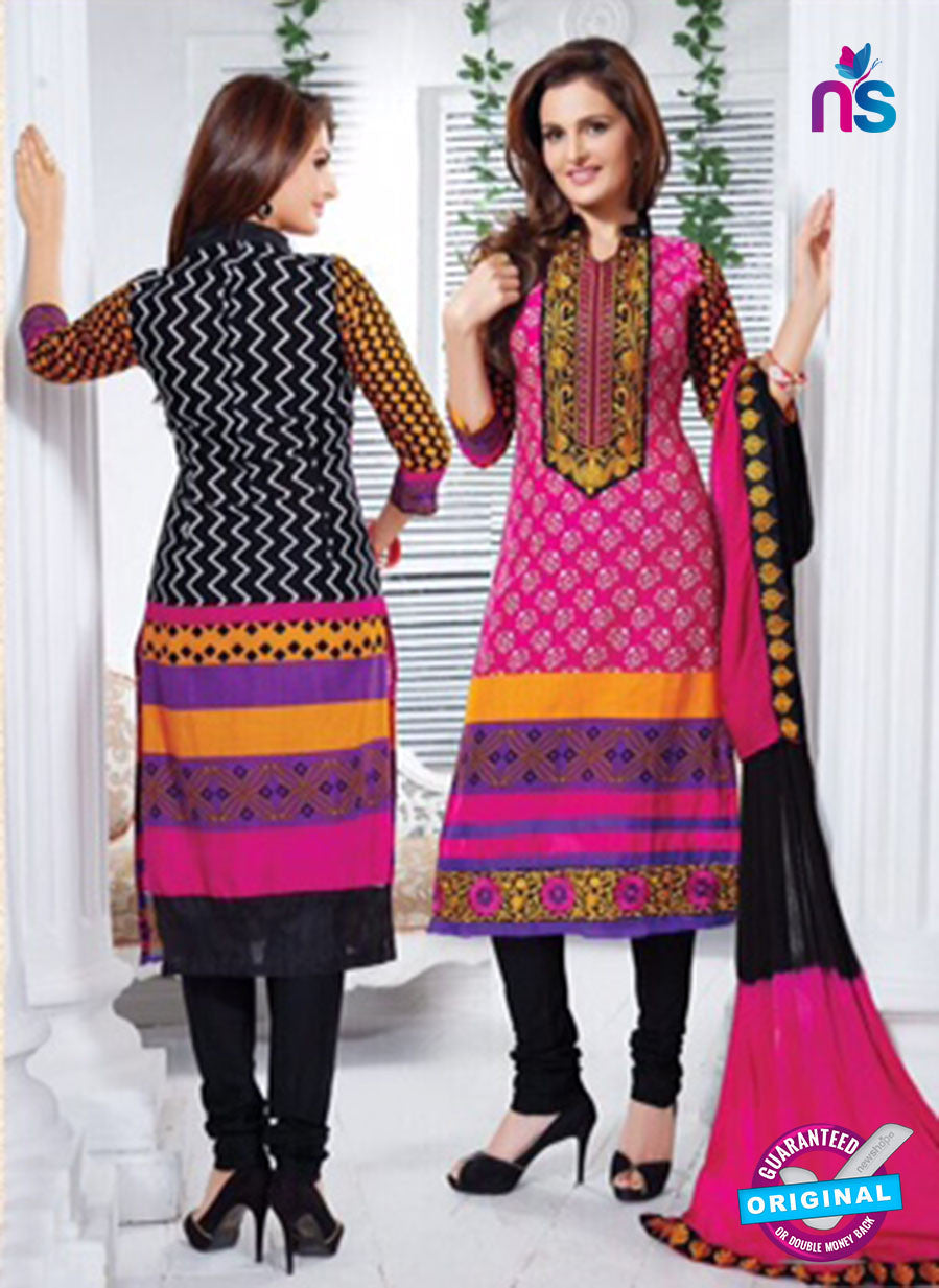 NS11162 BrightPink and Black Cotton Straight Suit