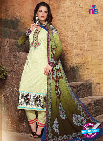 SC 13120 Beige and Multicolor Heavy Embroidered Cotton Jacquard Pakistani Suit