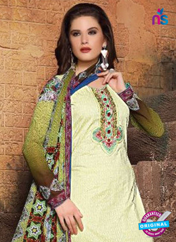 SC 13120 Green and Multicolor Heavy Embroidered Cotton Jacquard Pakistani Suit