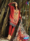 NS10536 Red and Multicolor Casual Glace Cotton Pakistani Suit