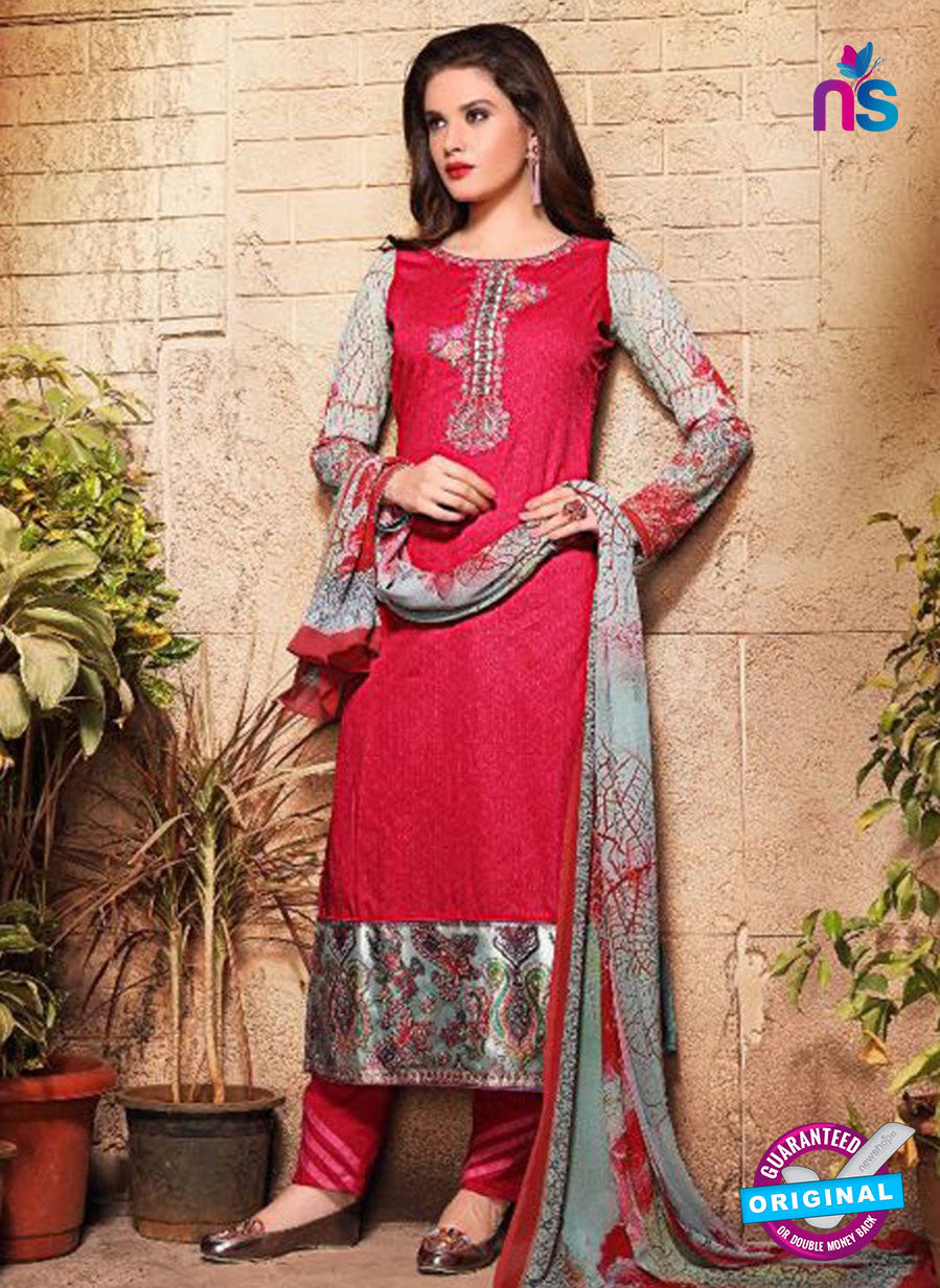 SC 13121 Red and Multicolor Heavy Embroidered and  Cotton Jacquard Pakistani Suit