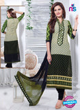 NS11164 OliveGreen and Black Cotton Straight Suit