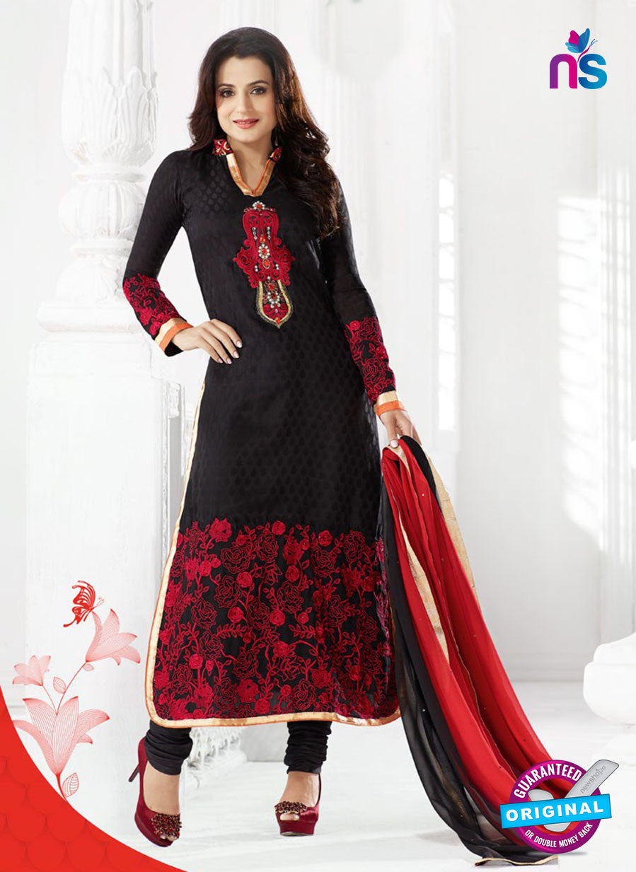 NS10889 Black and Red Designer Georgette Straight Suit