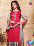 SC 13121 Red and Multicolor Heavy Embroidered and  Cotton Jacquard Pakistani Suit Online