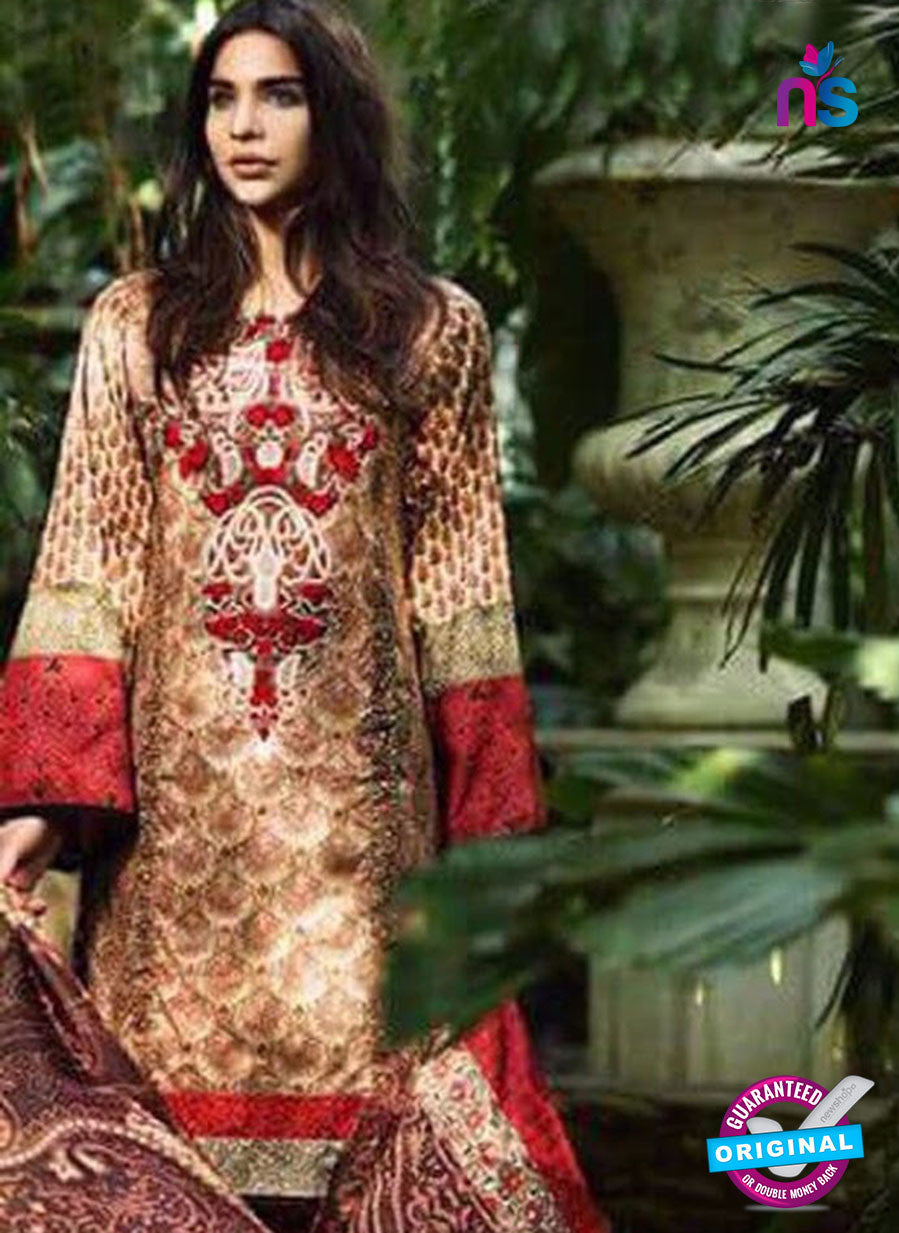 NS10537 Brown and Red Casual Glace Cotton Pakistani Suit