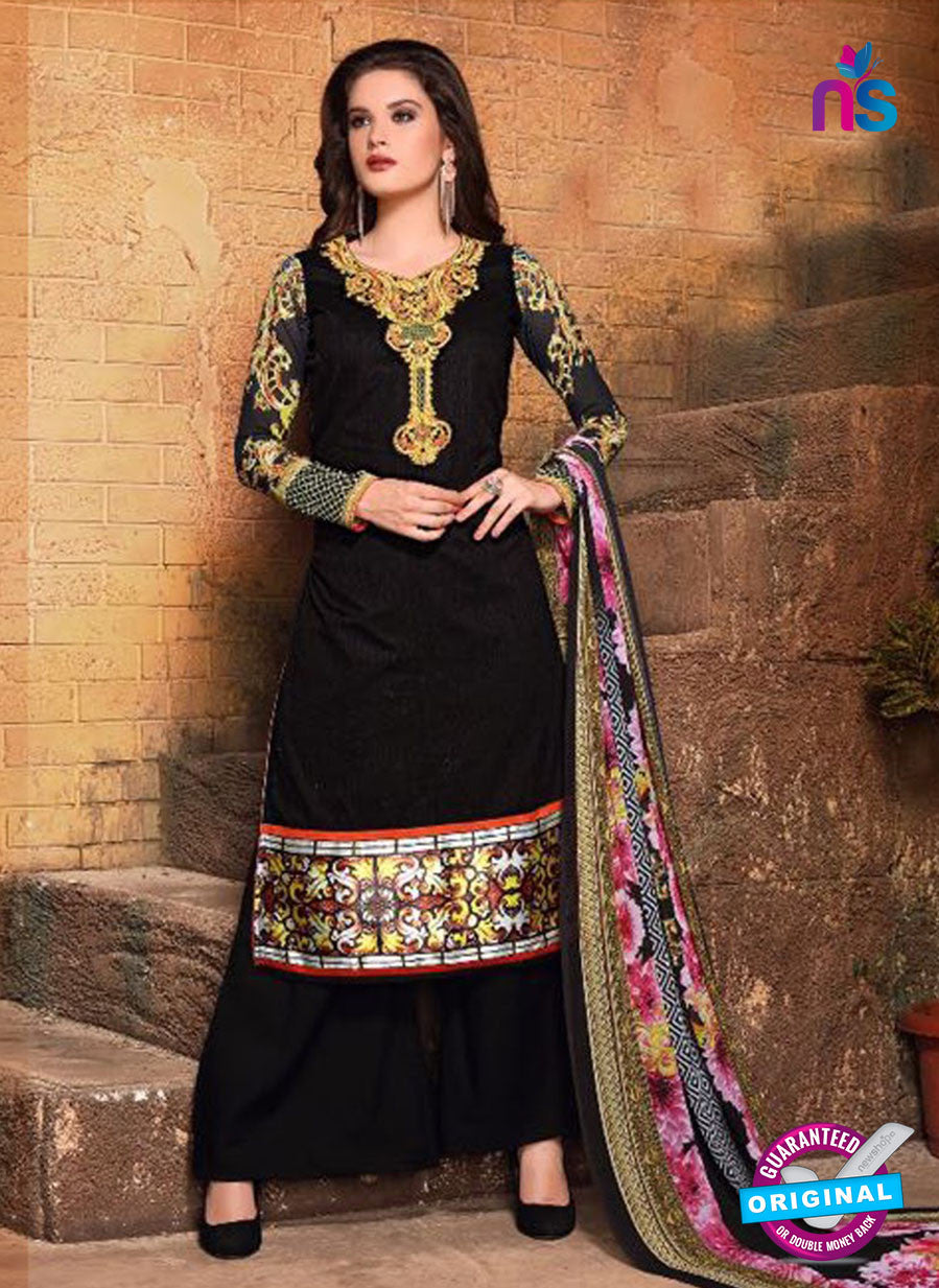 SC 13122 Black and Multicolor Heavy Embroidered and Cotton Jacquard Pakistani Suit
