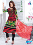 NS11165 Red and Black Cotton Straight Suit