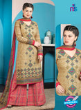 Rakhi 5009 A Beige and Red Printed Cotton Suit