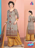 Rakhi 5009 B Grey and Yellow Printed Cotton Suit
