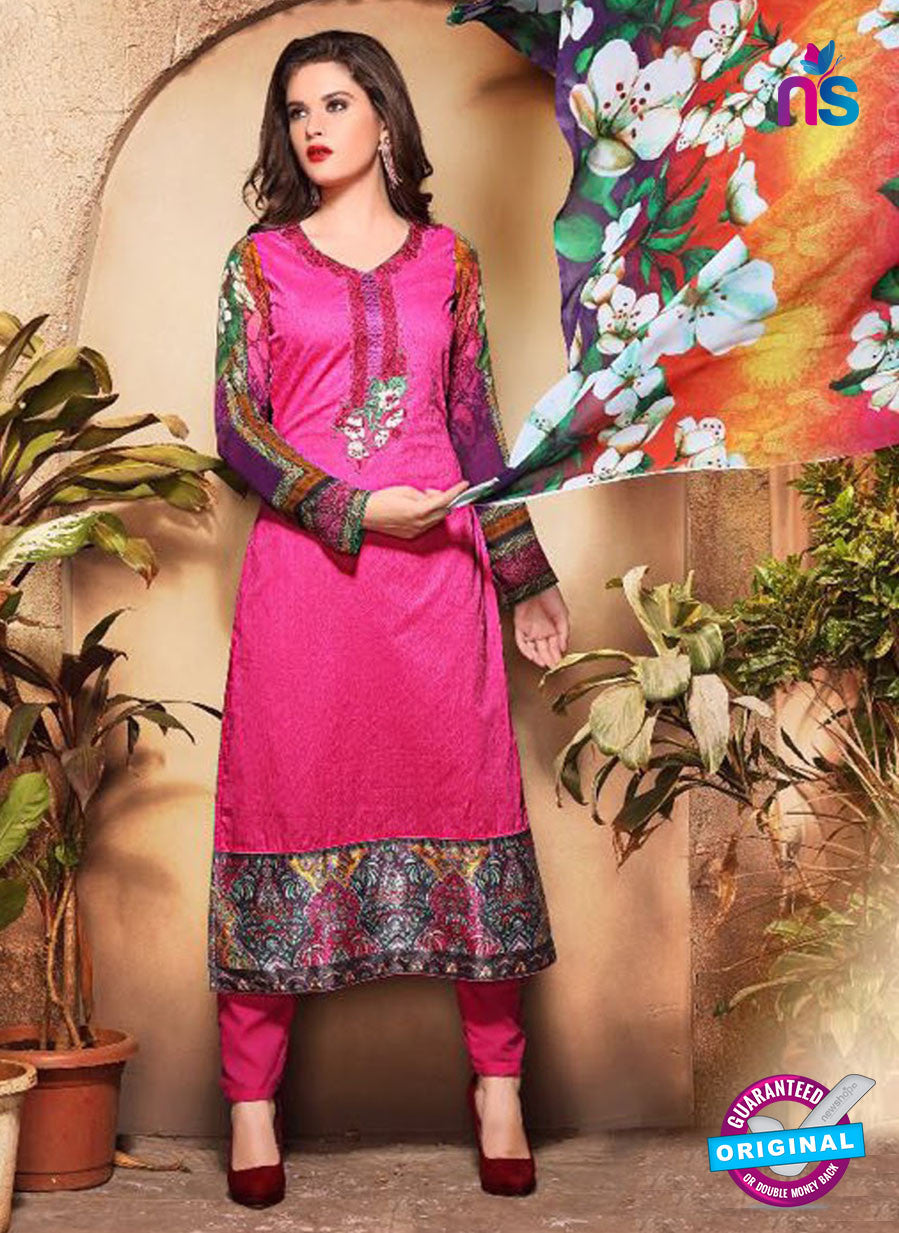 SC 13118 Magenta and Multicolor Heavy Embroidered Cotton Jacquard Pakistani Suit