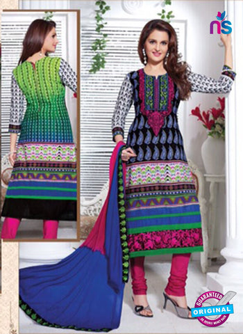 NS11166 Black and Magenta Cotton Straight Suit