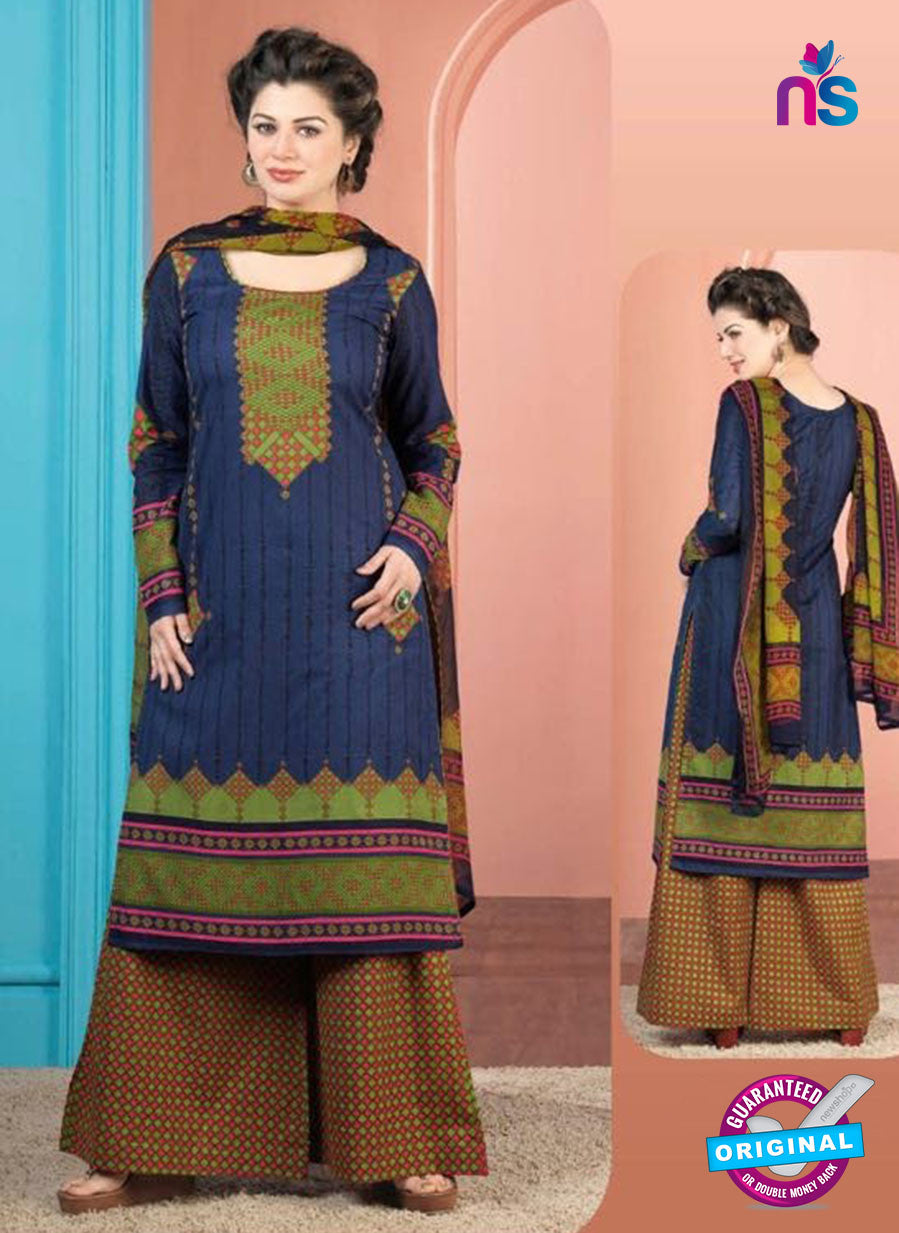 Rakhi 5010 A Blue and Green Printed Cotton Suit
