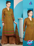 Rakhi 5010 B Brown and Green Printed Cotton Suit