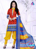 NS10086 Red and Yellow Printed Cotton Salwar Suit