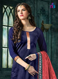 NS11460 NavyBlue and FirebrickRed Banarasi Jacquard Daily Wear Straight Suit