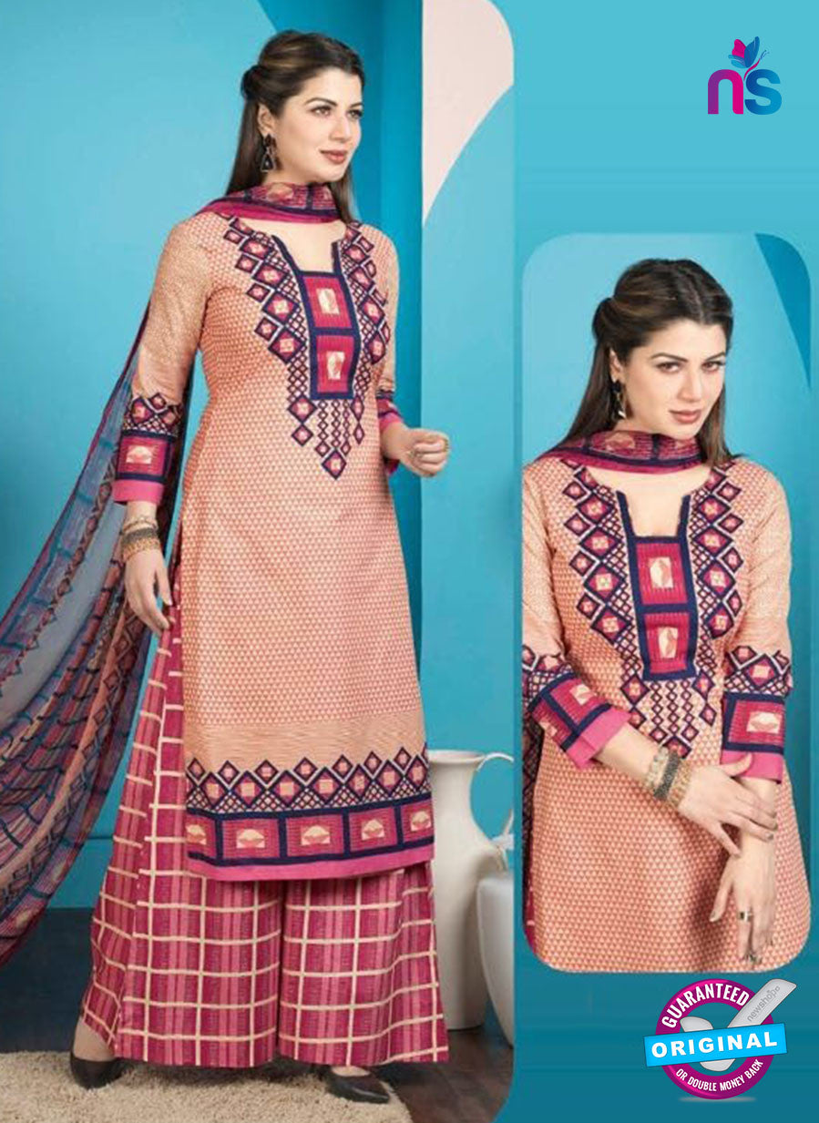 Rakhi 5012 A Peach and Pink Printed Cotton Suit