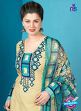 Rakhi 5012 B Yellow and Sky Blue Printed Cotton Suit