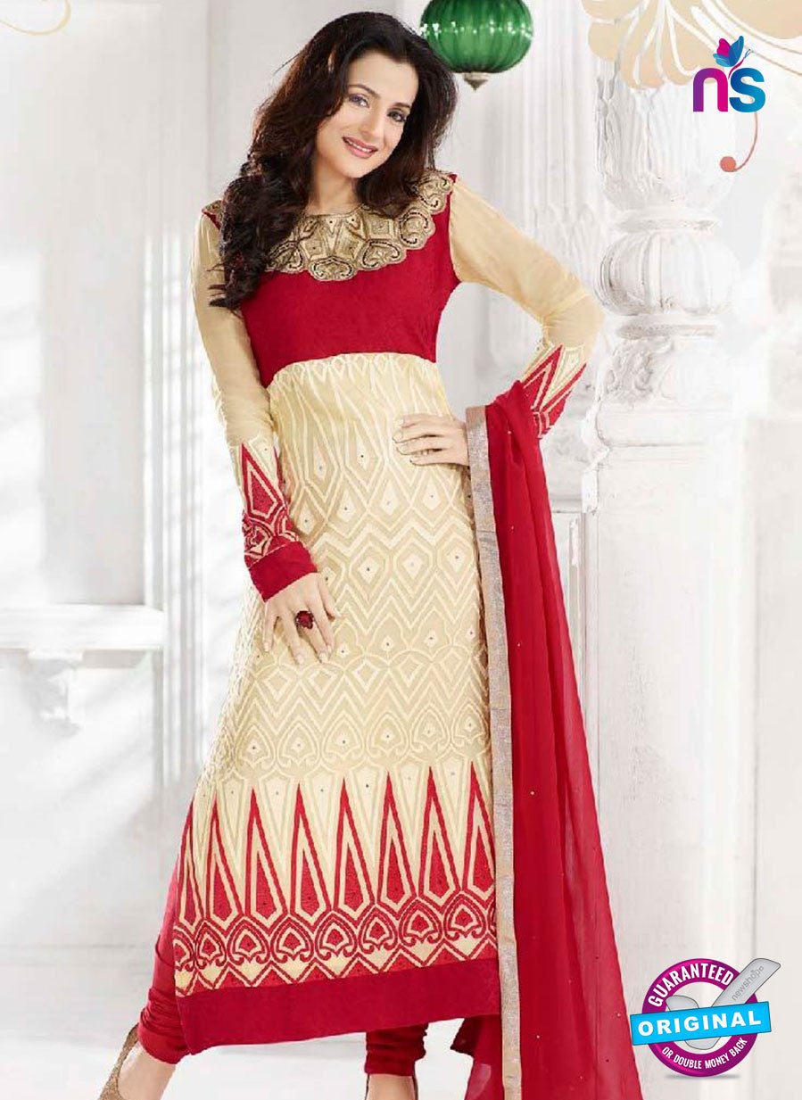 NS10891 Beige and Red Designer Georgette Straight Suit