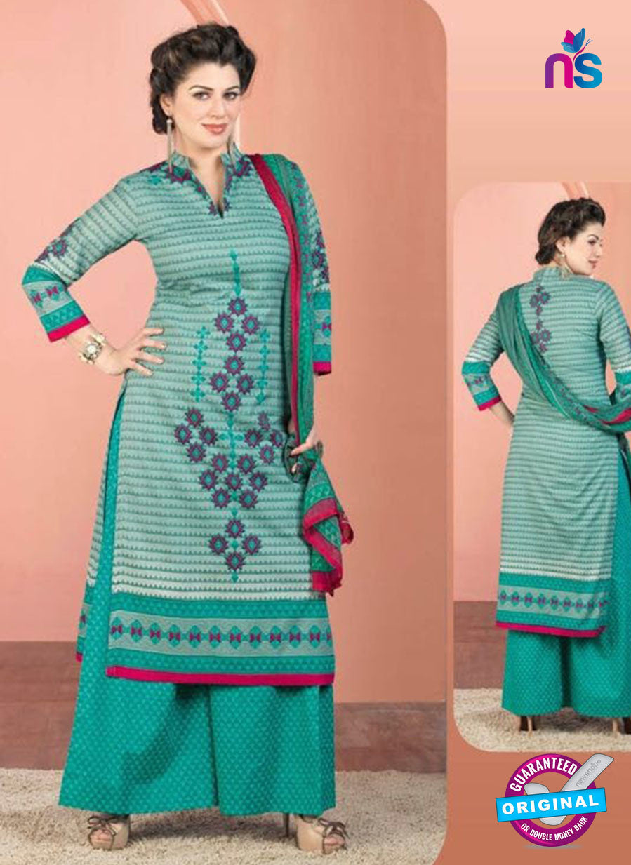 Rakhi 5013 A Sea Green and Pink Printed Cotton Suit