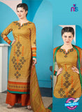 Rakhi 5013 B Brown and Orange Printed Cotton Suit