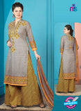 Rakhi 5014 A Grey and Mehndi Green Printed Cotton Suit