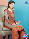 Rakhi 5014 B Grey and Brown Printed Cotton Suit
