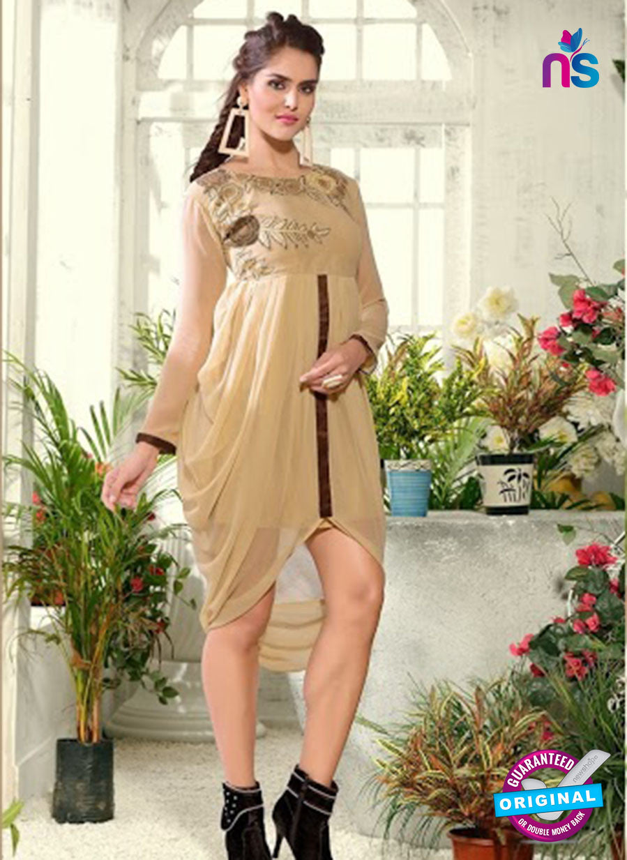 NS 12301 Beige Designer Embroidered Georgette kurti