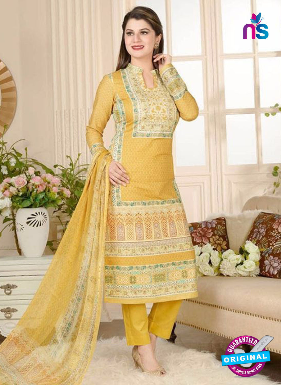 Rakhi 5017 B Yellow and Multicolor Printed Cotton Suit
