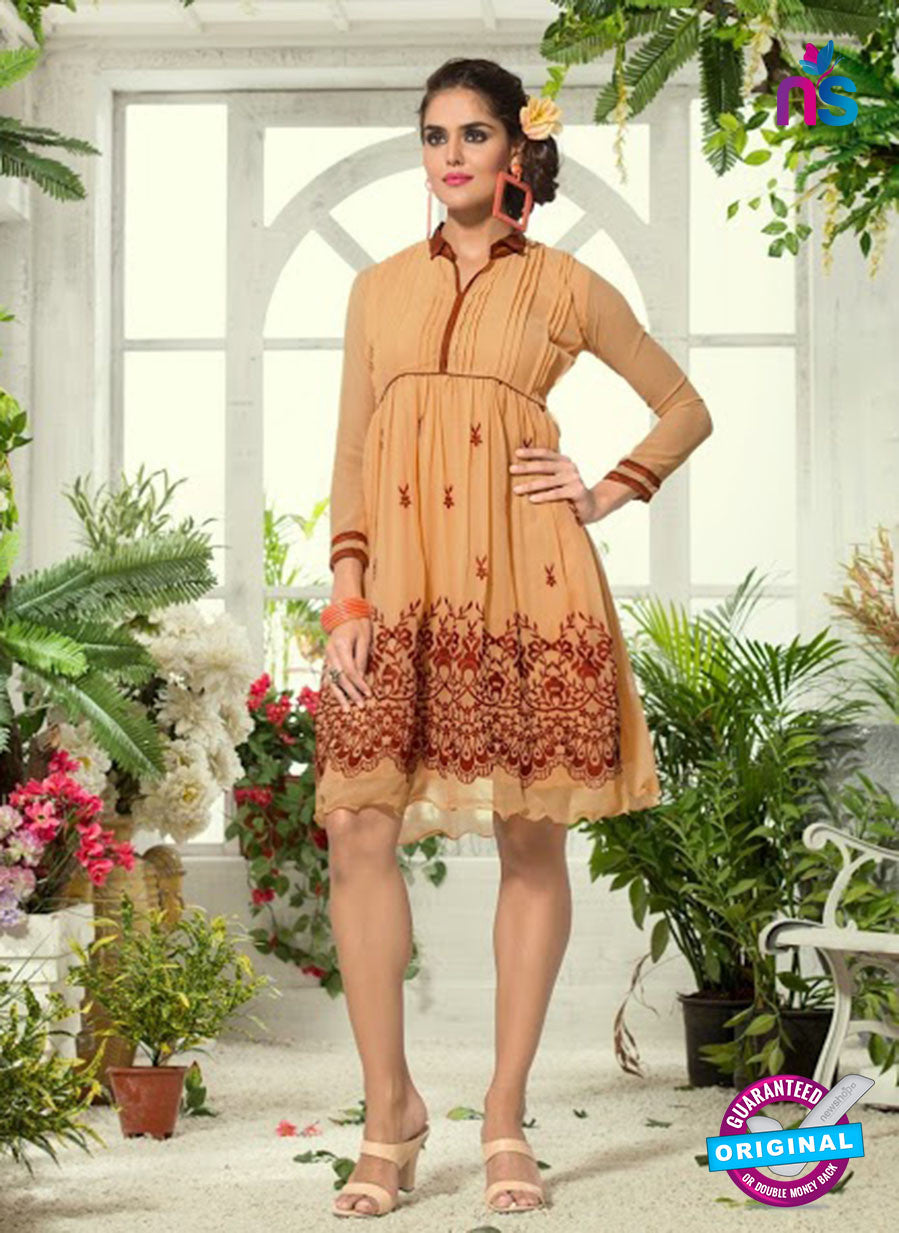 NS 12300 Beige and Brown Designer Embroidered Georgette kurti