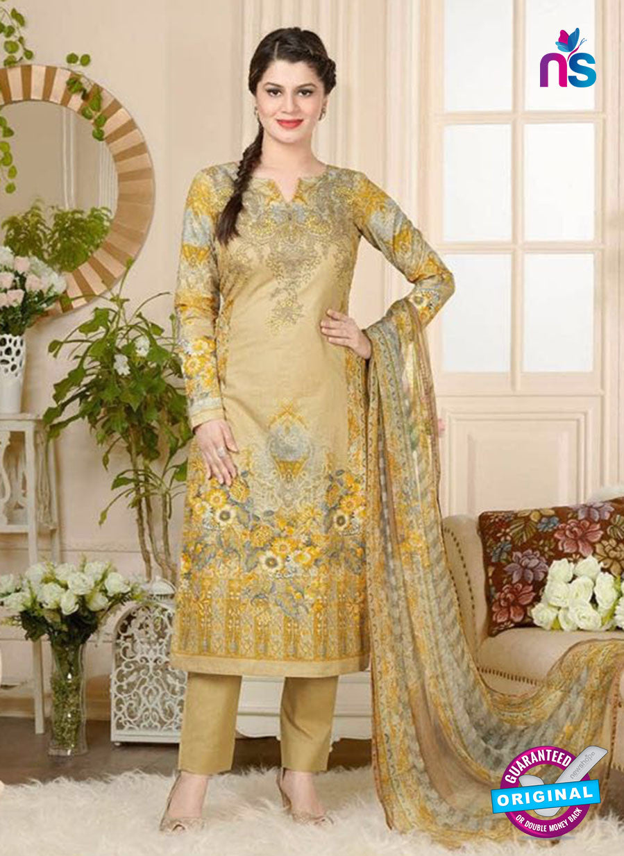 Rakhi 5018 A Beige and Multicolor Printed Cotton Suit