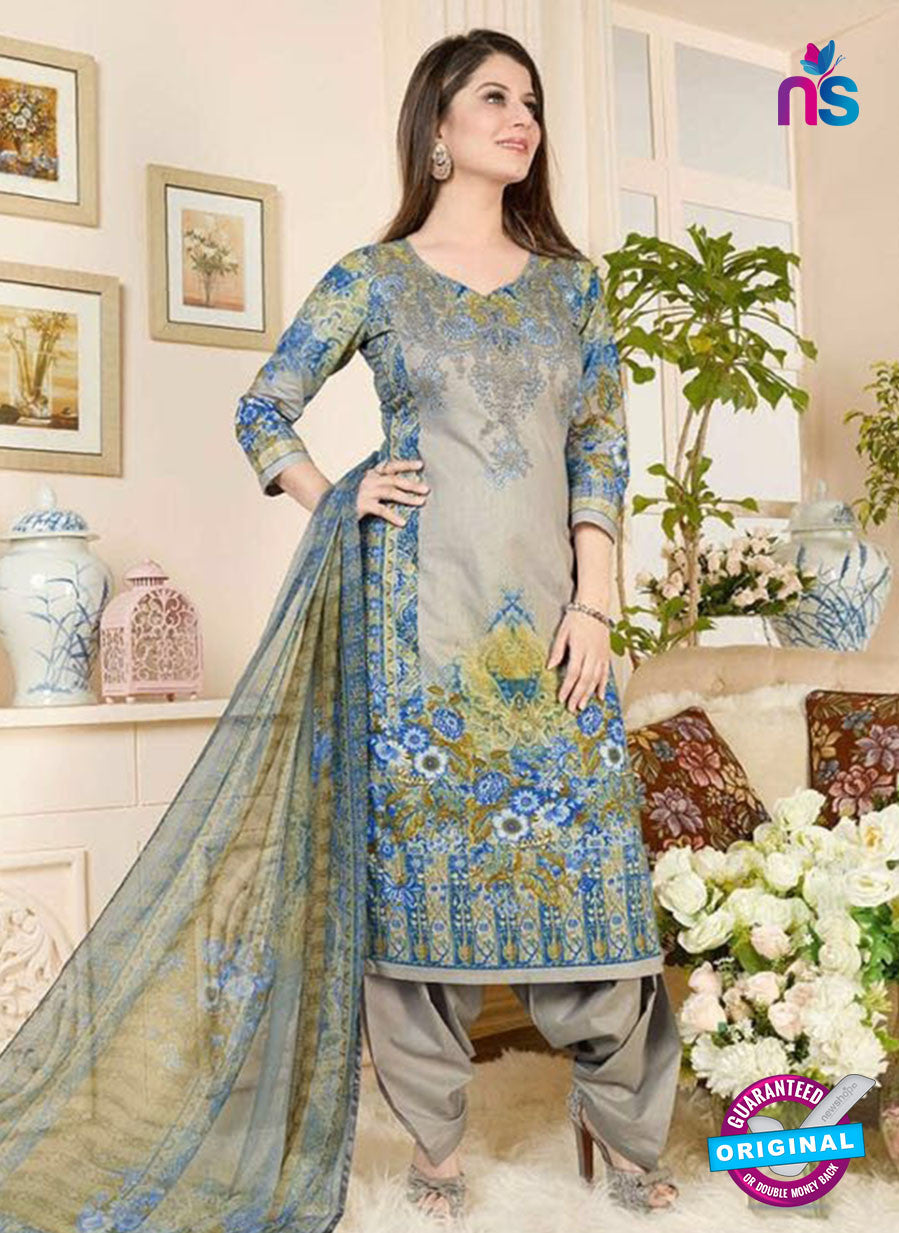 Rakhi 5018 B Beige and Blue Printed Cotton Suit