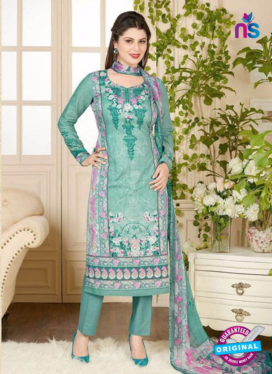 Rakhi 5019 B Sea Green and Multicolor Printed Cotton Suit