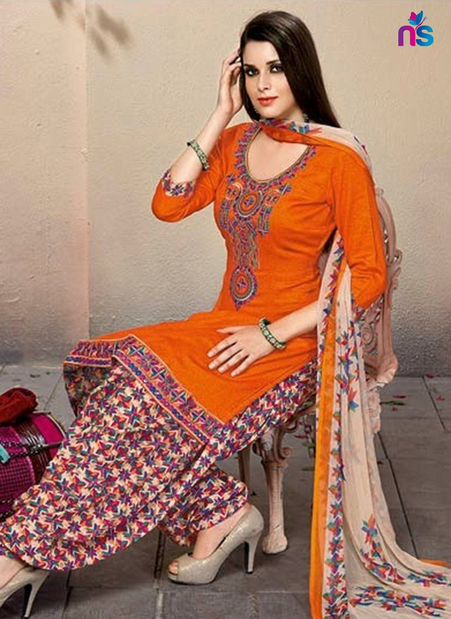 Kalakirti 501A Beige & Yellow Color Glace Cotton Designer Suit