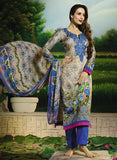 Glossy 501A  Beige & Blue Color Glace Cotton Designer Suit