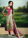 Glossy 501B  Beige & Pink Color Glace Cotton Designer Suit