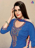 Kalakirti 501C Beige & Blue Color Glace Cotton Designer Suit