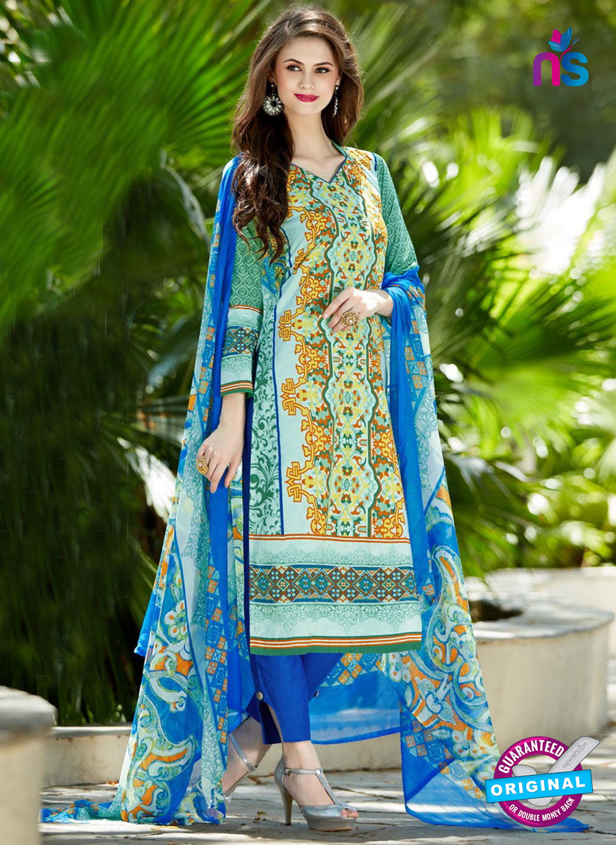 SC 12954 Green and Blue Camric Lawn Pakistani Suit
