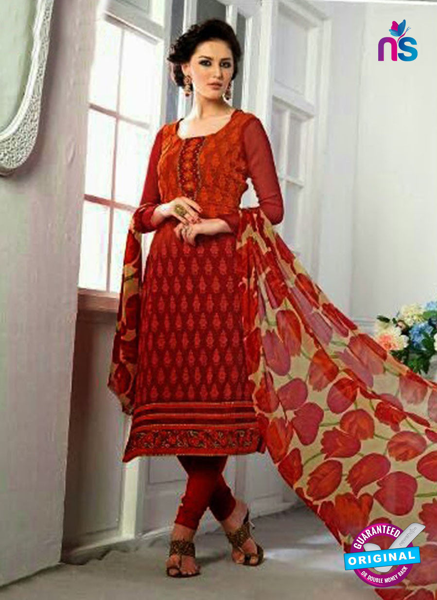 SC 13067 Red Georgette Embroidery Party Wear Straight Suit