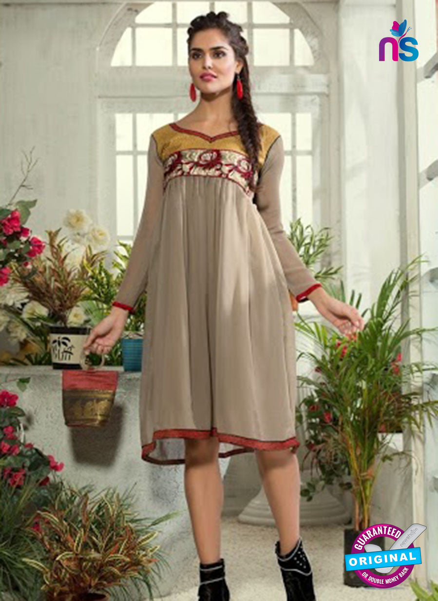 NS 12302 Gray Designer Embroidered Georgette kurti