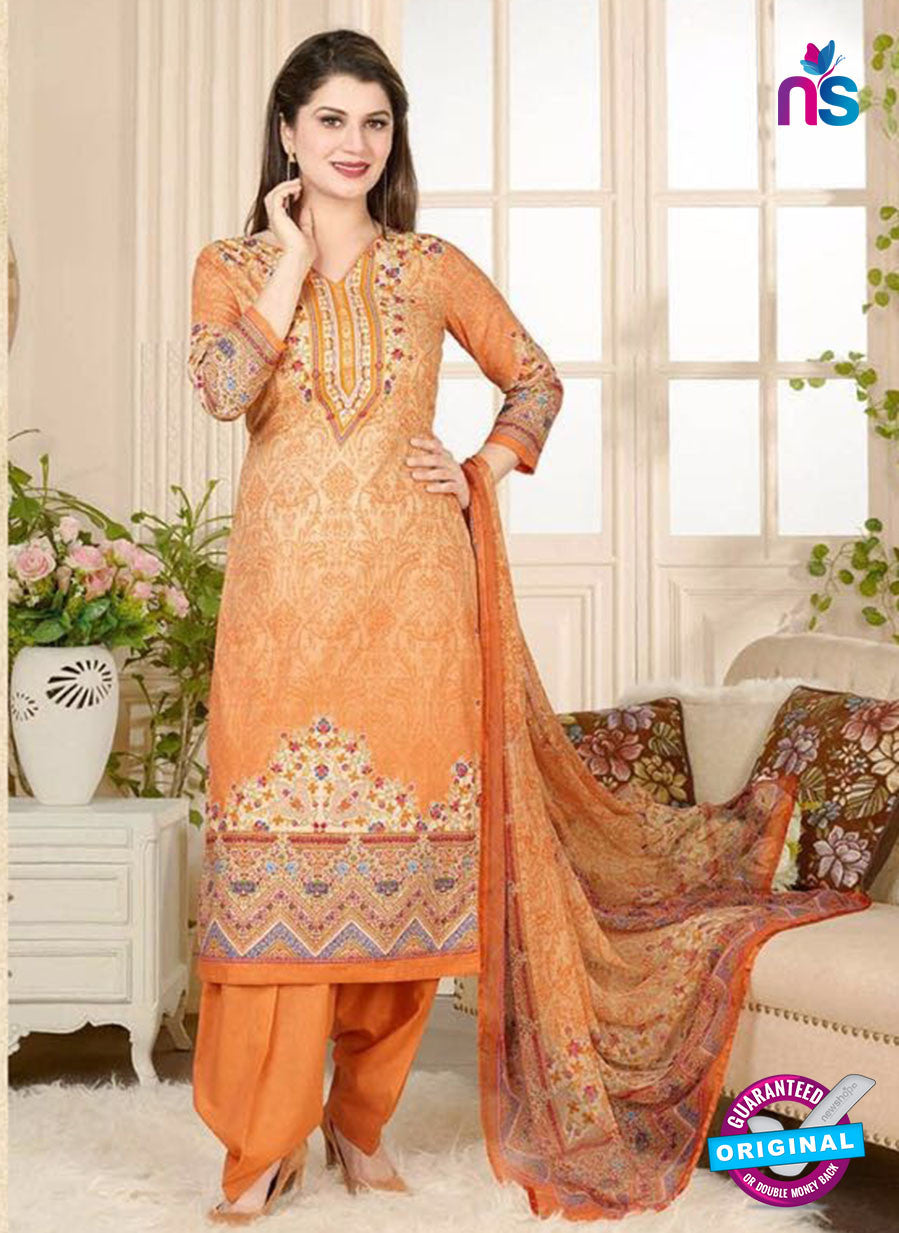 Rakhi 5020 B Orange and Multicolor Printed Cotton Suit
