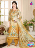 Rakhi 5021 A Beige and Yellow Printed Cotton Suit