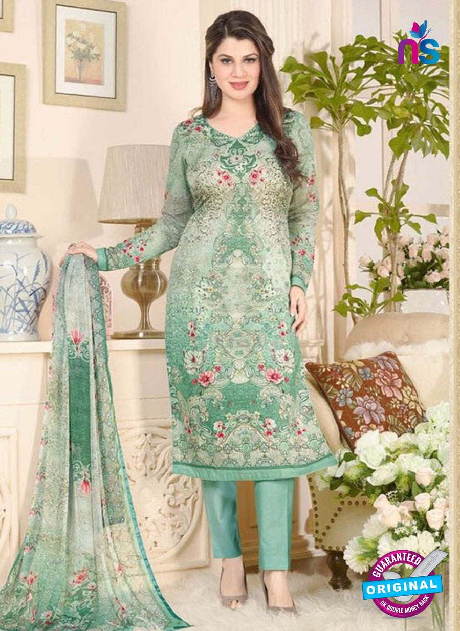 Rakhi 5021 B Green and Multicolor Printed Cotton Suit