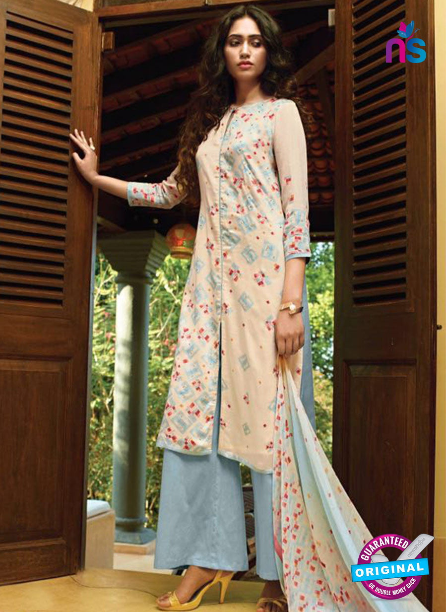 Ganga 5025 Blue and Beige Cotton Party Wear Suit