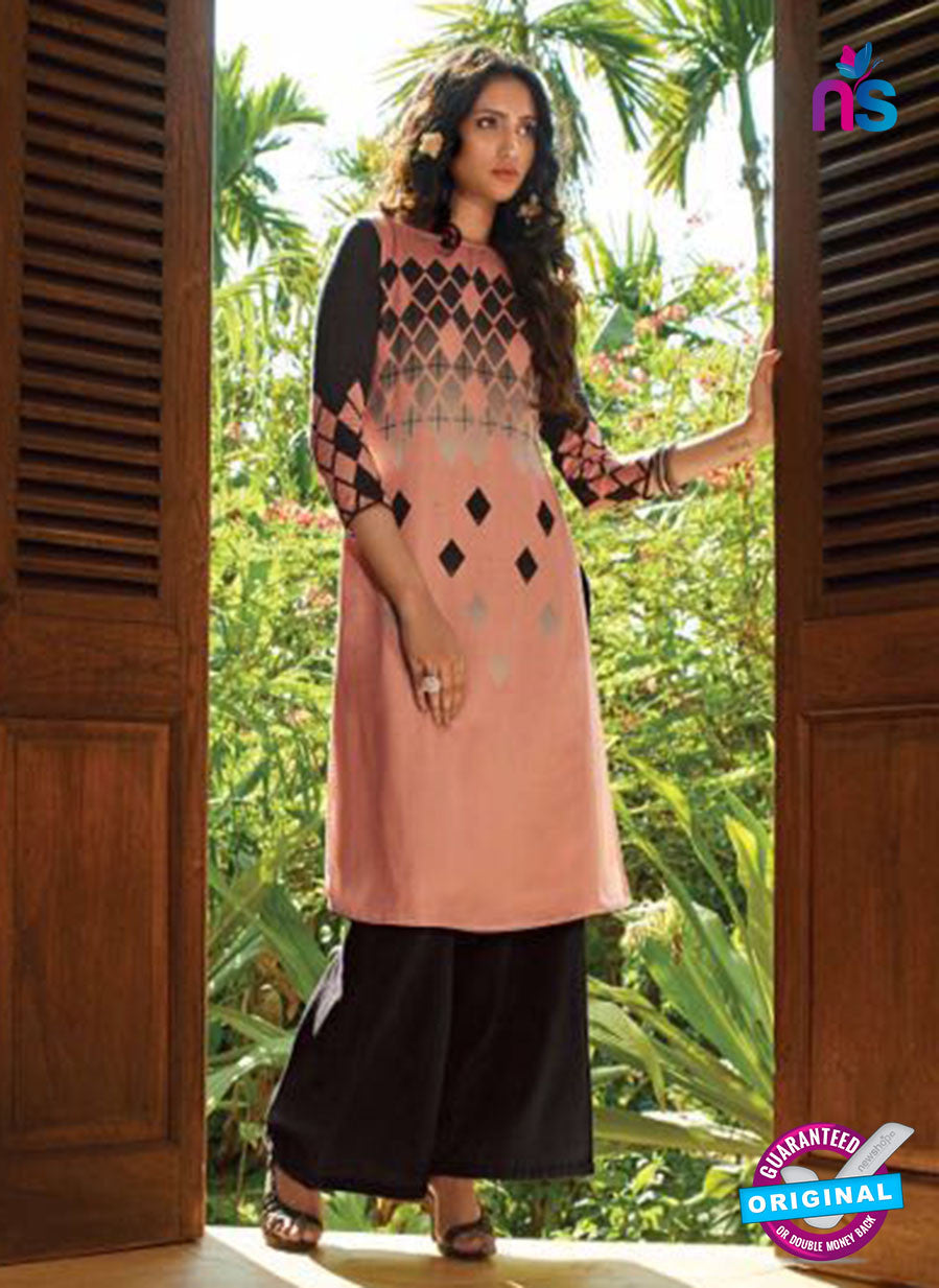 Ganga 5026 Peach and Black Cotton Party Wear Suit