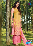 Ganga 5027 Yellow and Pink Cotton Party Wear Suit